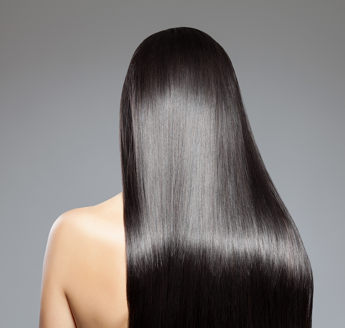 Keratin express blowout model with straight hair
